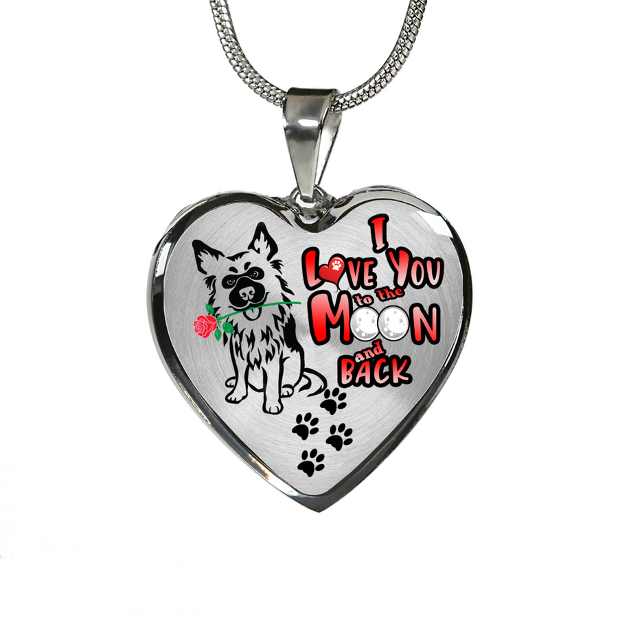 German Shepherd - I Love You to the Moon and Back - with Rose and Paw Prints - Luxury Adjustable Necklace or Bangle