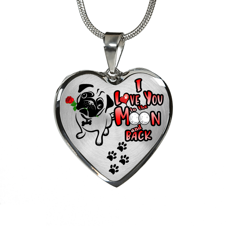 Pug - I Love You to the Moon and Back - with Rose and Paw Prints - Heart Luxury Adjustable Necklace or Bangle