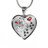 Awesome Pomeranian with Rose Paw Prints Leading To Your Heart Adjustable Luxury Necklace or Bangle