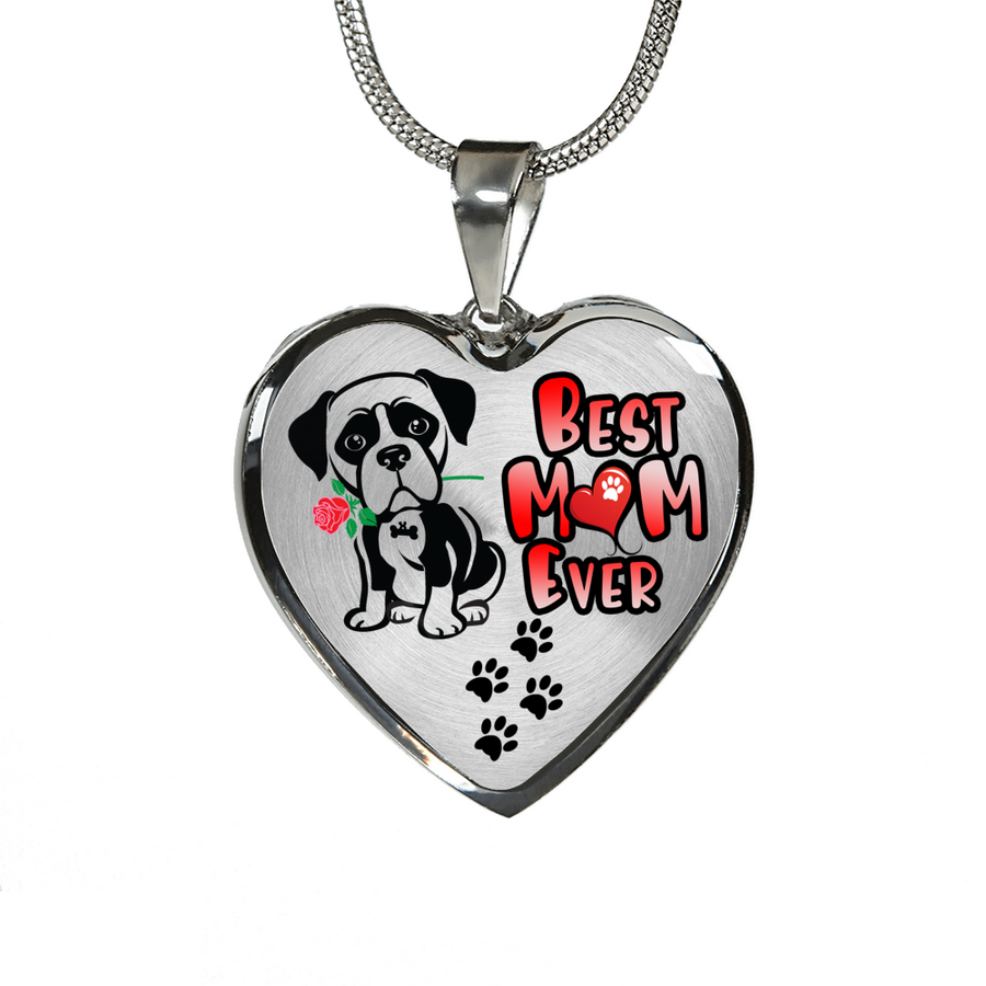 Boxer - Best Mom Ever - with Rose and Paw Prints - Luxury Adjustable Necklace or Bangle