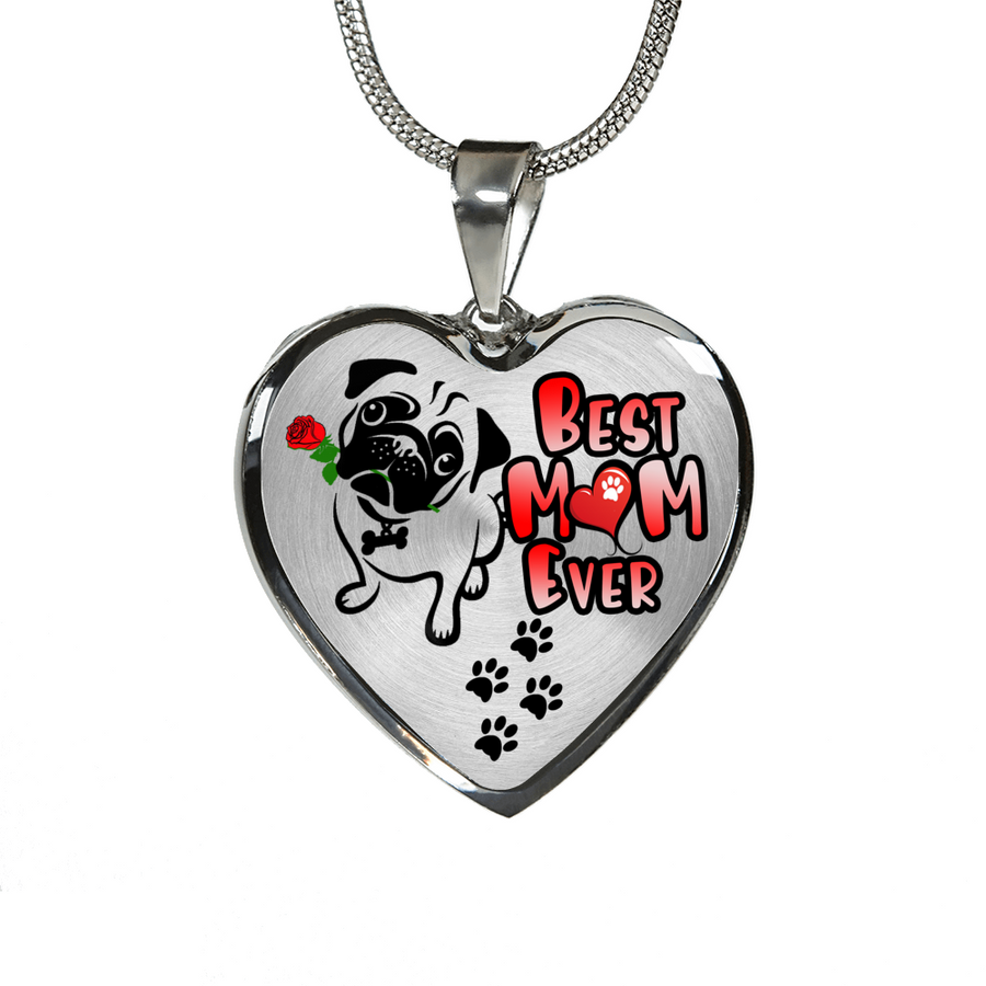 Pug - Best Mom Ever - with Rose and Paw Prints - Heart Luxury Adjustable Necklace or Bangle