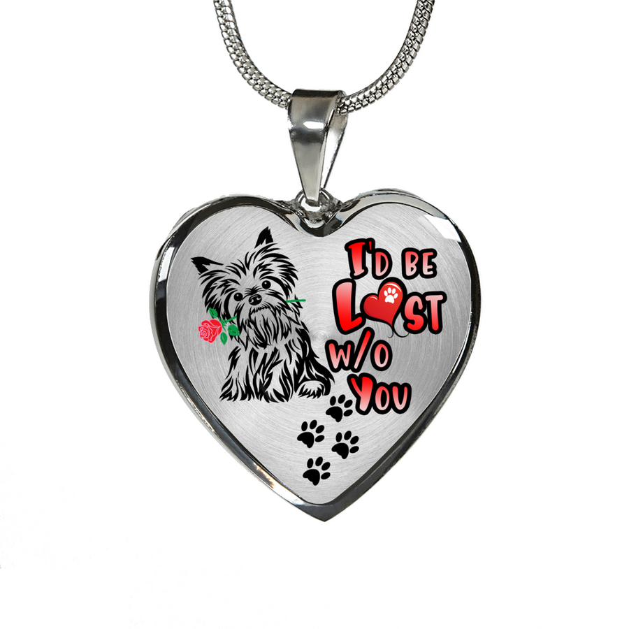 Yorkie - I'd Be Lost without You - With Rose and Paw Prints - Luxury Adjustable Necklace or Bangle - Yorkshire Terrier