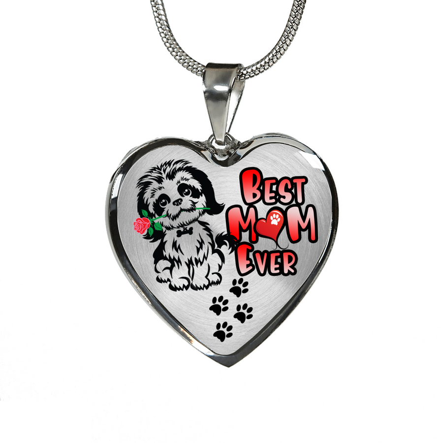 Shih Tzu - Best Mom Ever - with Rose and Paw Prints - Heart Luxury Adjustable Necklace or Bangle