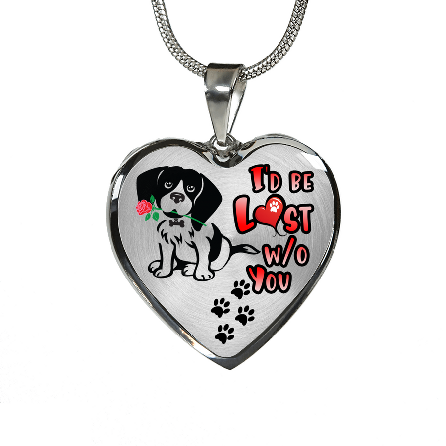 Beagle - I'd Be Lost without You - With Rose and Paw Prints - Luxury Adjustable Necklace or Bangle