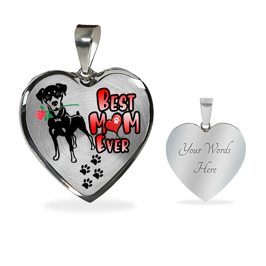 Doberman - Best Mom Ever - With Rose and Paw Prints - Luxury Adjustable Necklace or Bangle
