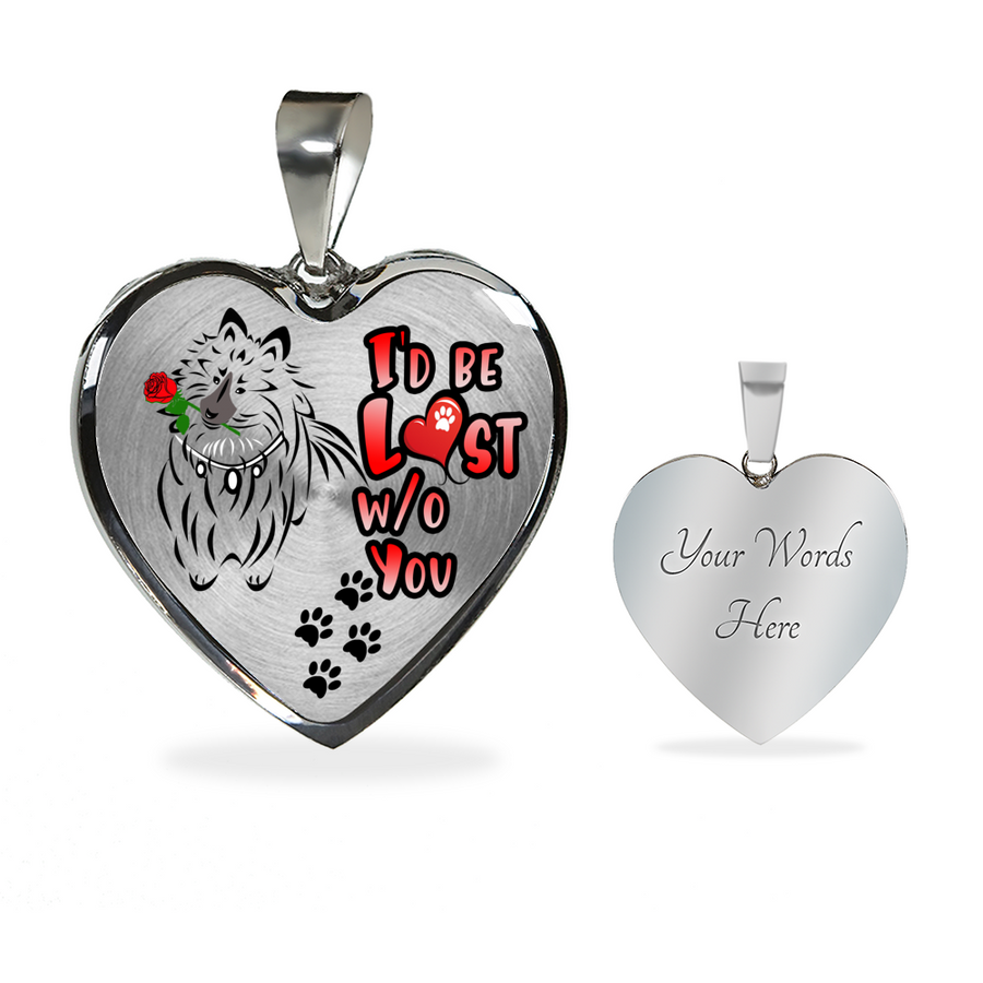 Shetland Sheepdog - I'd Be Lost without You - With Rose and Paw Prints - Luxury Adjustable Necklace or Bangle