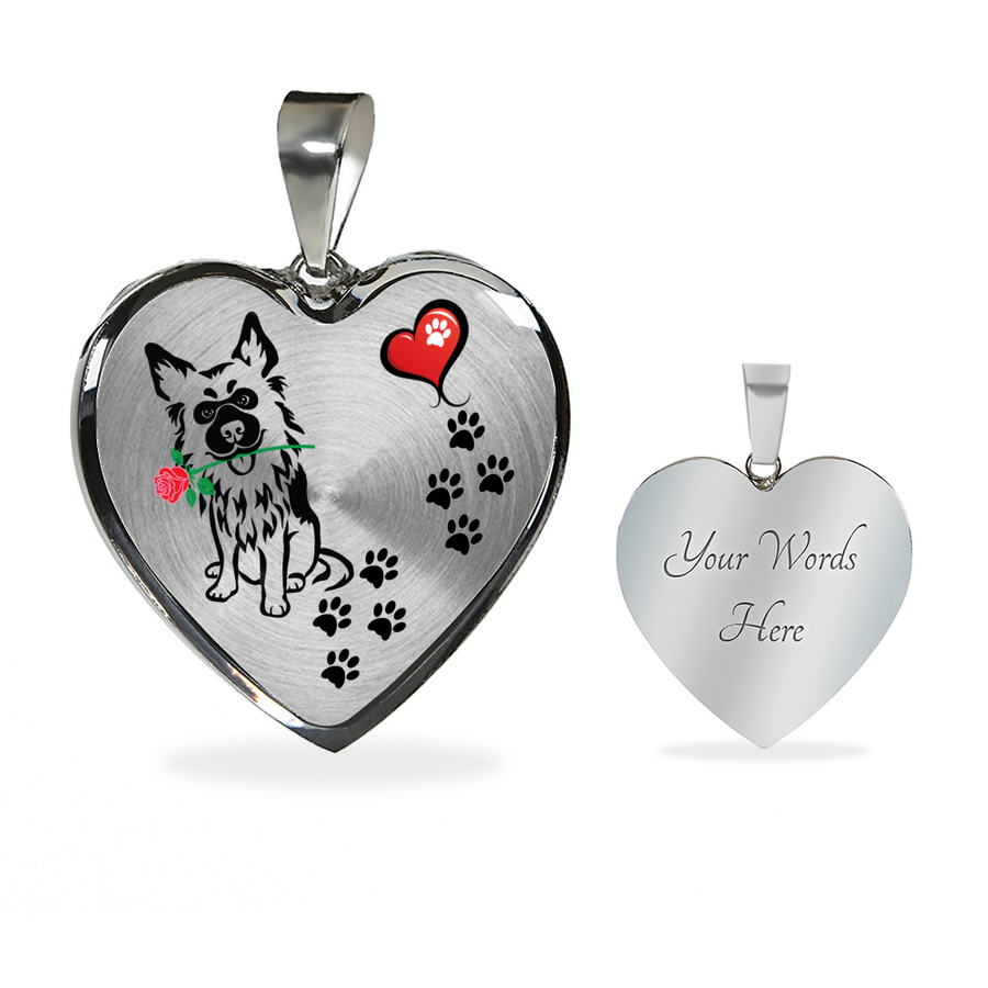 Awesome German Shepherd with Rose and Paw Prints Leading To Your Heart Adjustable Luxury Necklace or Bangle