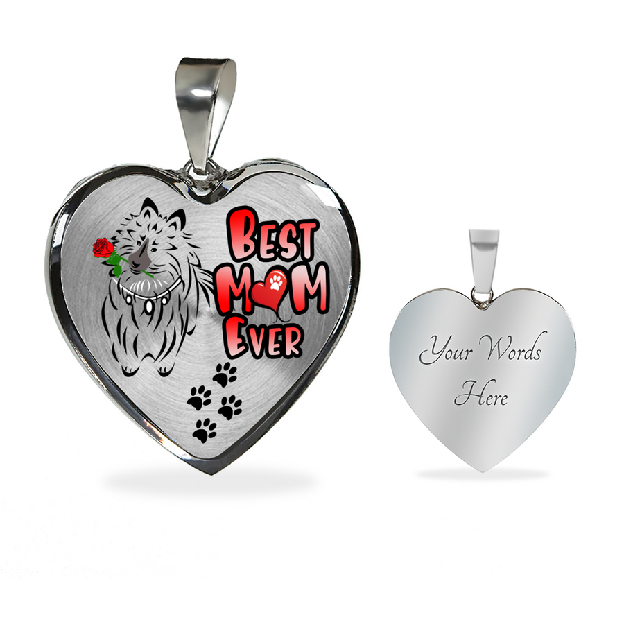 Shetland Sheepdog - Best Mom Ever - With Rose and Paw Prints - Luxury Adjustable Necklace or Bangle