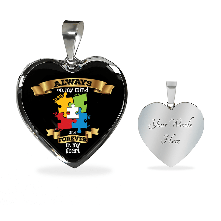 Always on my mind and Forever in my Heart with Autism Puzzle Luxury Heart Necklace or Bangle - Black Background
