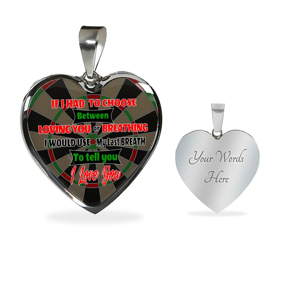 Darts - Loving or Breathing Silver and Gold Luxury Heart Necklace