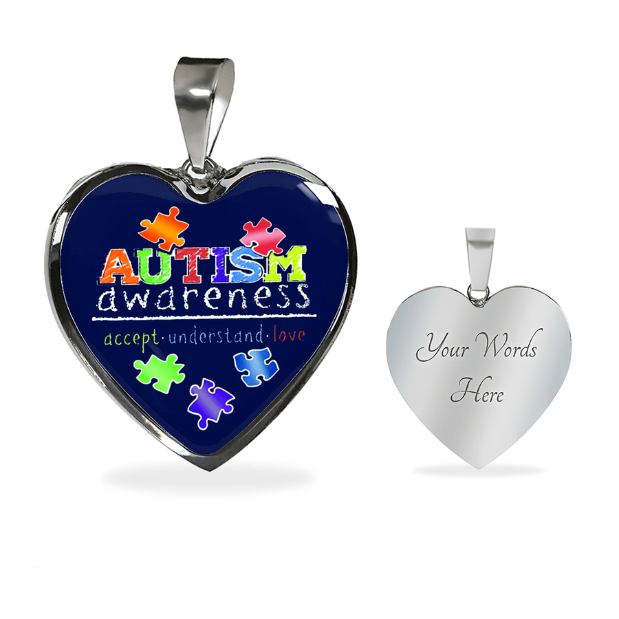 Accept Understand Love - Autism Awareness - Heart - Luxury Adjustable Necklace or Bangle