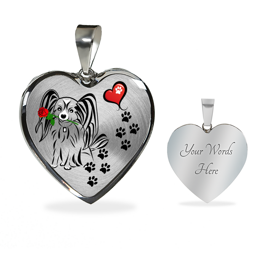 Awesome Papillion with Rose Paw Prints Leading To Your Heart Adjustable Luxury Necklace or Bangle
