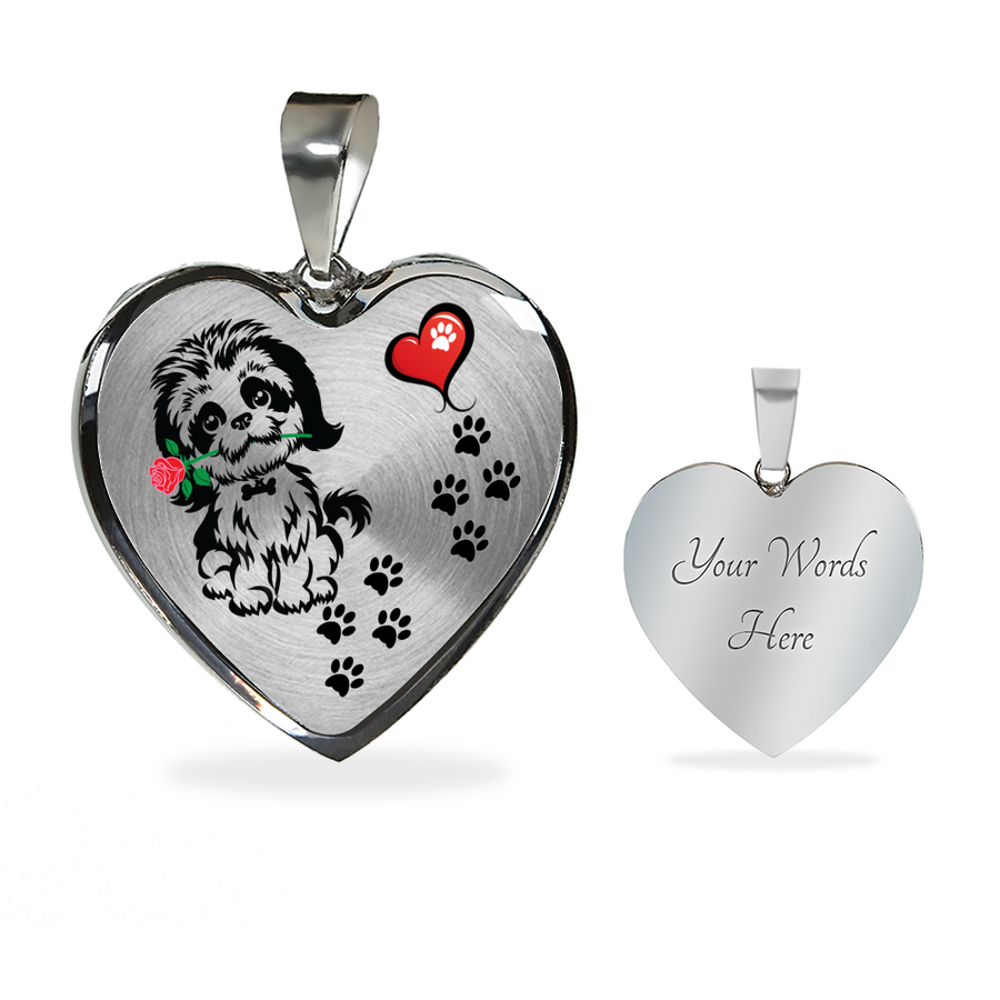 Awesome Shih Tzu with Rose Paw Prints Leading To Your Heart Adjustable Luxury Necklace or Bangle