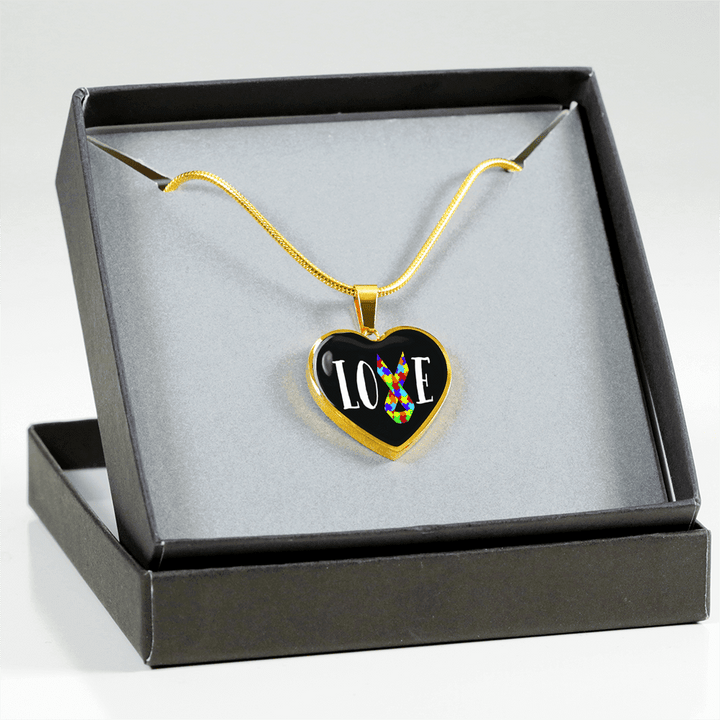 18k Gold Finish Love Ribbon Heart - Luxury Adjustable Necklace or Bangle