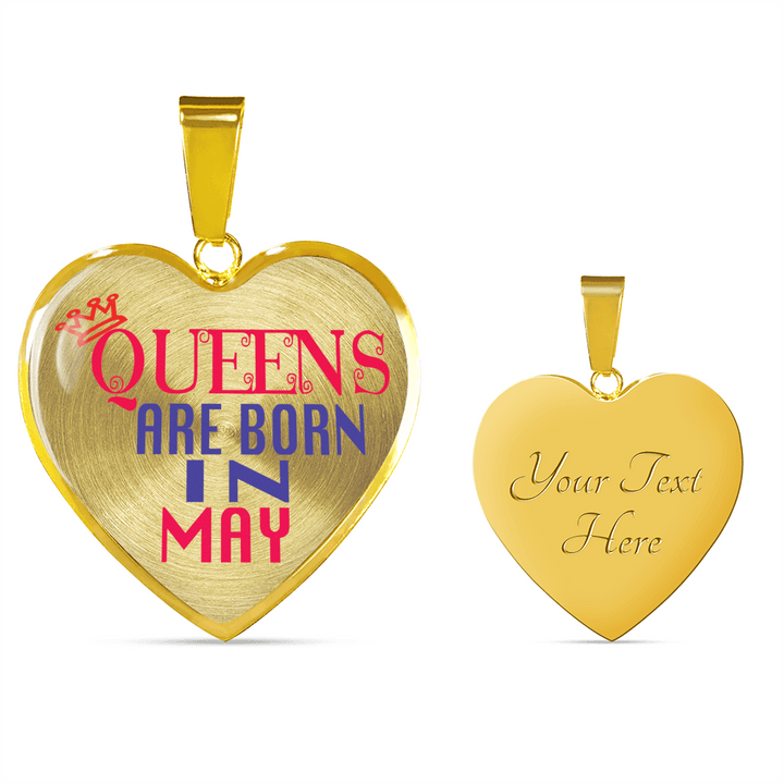 18k Gold Finish  Queens Are Born In May Heart - Luxury Adjustable Necklace or Bangle