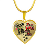 Boxer - I'd Be Lost w/o You - with Rose and Paw Prints - Luxury Adjustable Necklace or Bangle