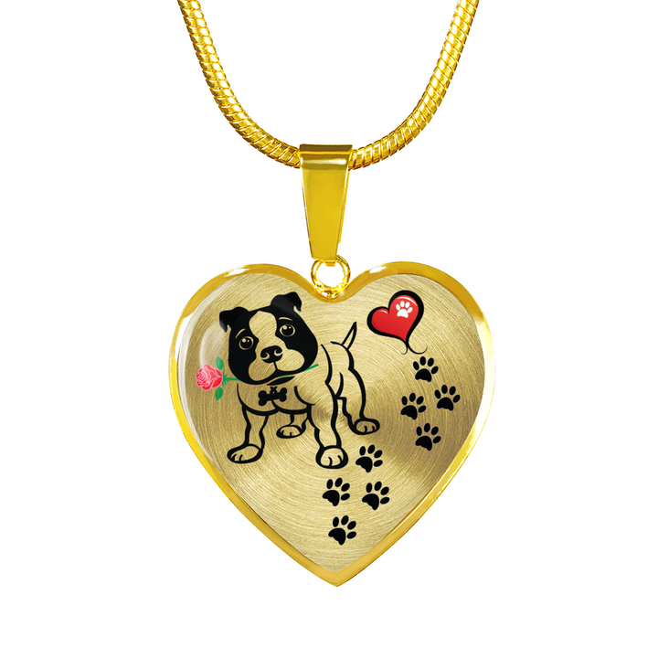 Awesome Pit Bull with Rose and Paw Prints Leading To Your Heart Adjustable Luxury Necklace or Bangle