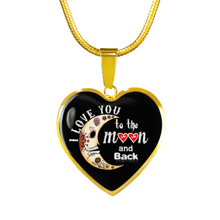 I Love You To The Moon and Back Sugar Skulls - Heart Luxury Adjustable Necklace or Bangle