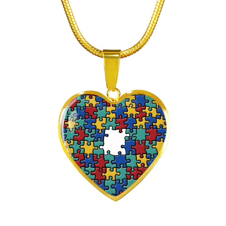 Autism Colorful Puzzle - Heart - Luxury Adjustable Necklace or Bangle