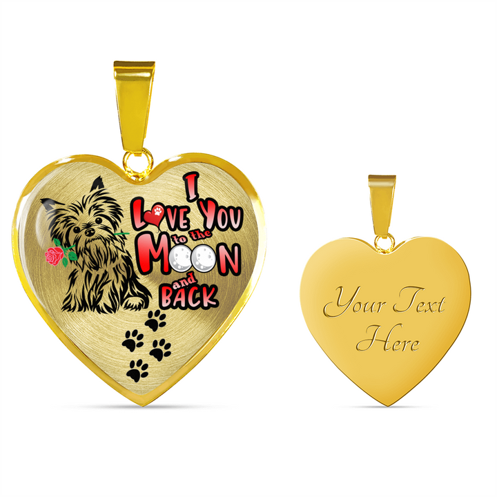 Yorkie - I Love You to the Moon and Back - with Rose and Paw Prints - Luxury Adjustable Necklace or Bangle - Yorkshire Terrier