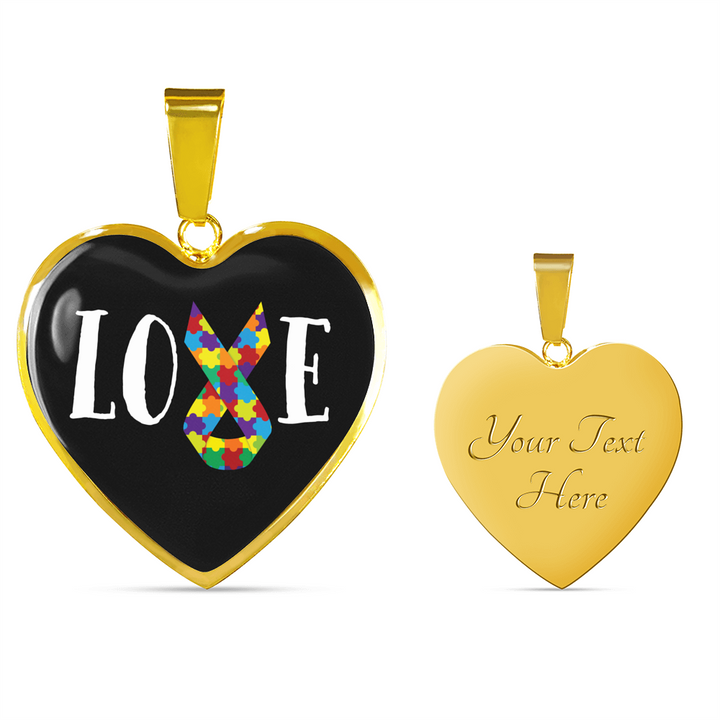 Autism Love Ribbon - Heart - Luxury Adjustable Necklace or Bangle