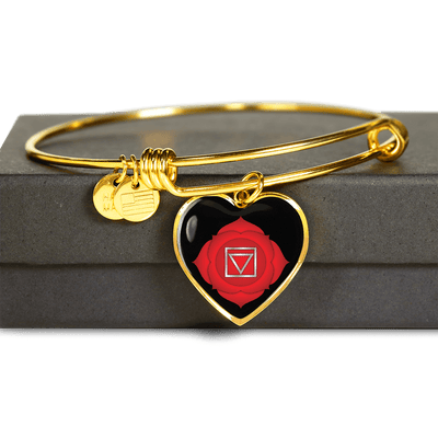 18k Gold Finish and Silver Root Chakra Heart - Luxury Adjustable Necklace or Bangle