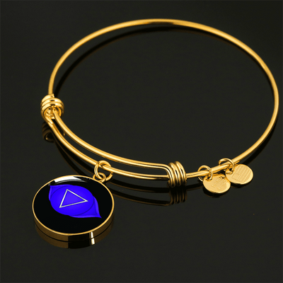 18k Gold Finish and Silver Third Eye Charka Circle - Luxury Adjustable Necklace (w/ Bangle variant)
