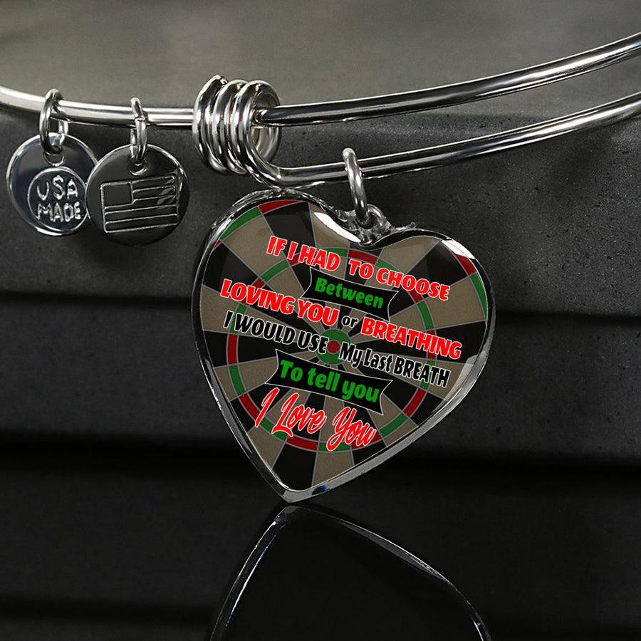 Darts - Loving or Breathing Silver and Gold Luxury Heart Bangle