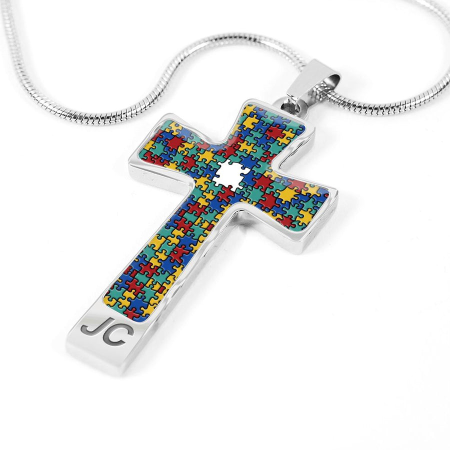 Autism - Colorful Puzzle Silver and Gold Necklace Cross Necklace