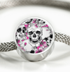 Skulls with Pink Flowers Luxury Circle Charm Bracelet
