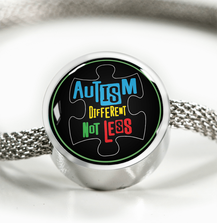 Autism Different Not Less Luxury Circle Charm Bracelet