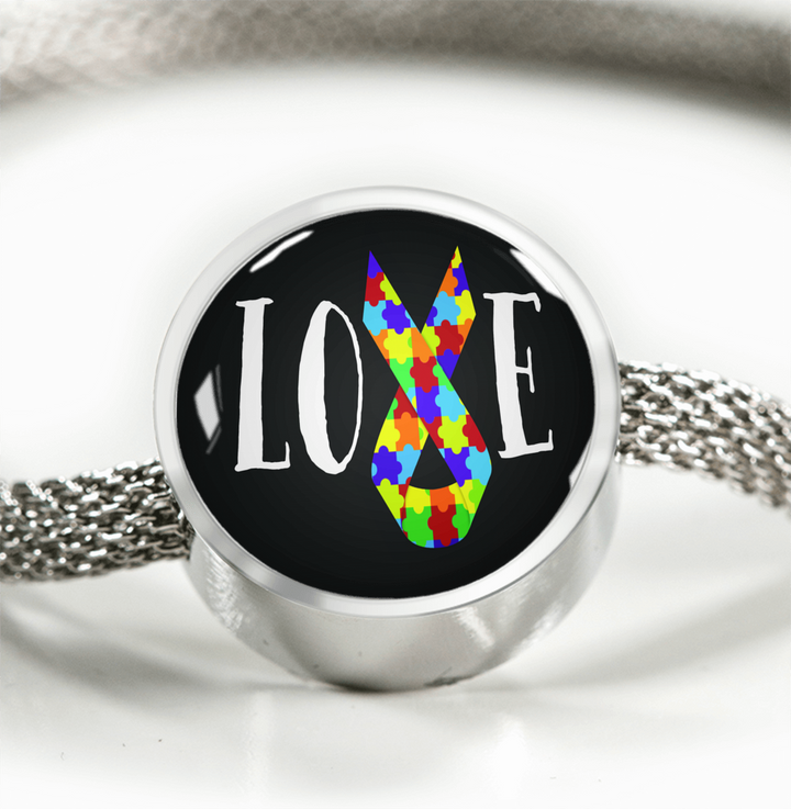 Autism Love Ribbon Luxury Bracelet w/ Circle Charm