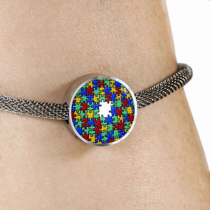 Autism Colorful Puzzle Luxury Circle Charm & Bracelet