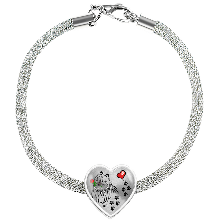 Awesome Love Shetland Sheepdog with Paw Prints, Heart and Rose Charm Bracelet