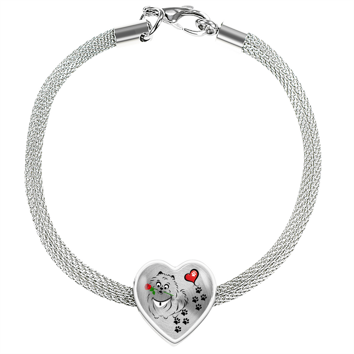 Awesome Love Pomeranian with Paw Prints, Heart and Rose Charm Bracelet