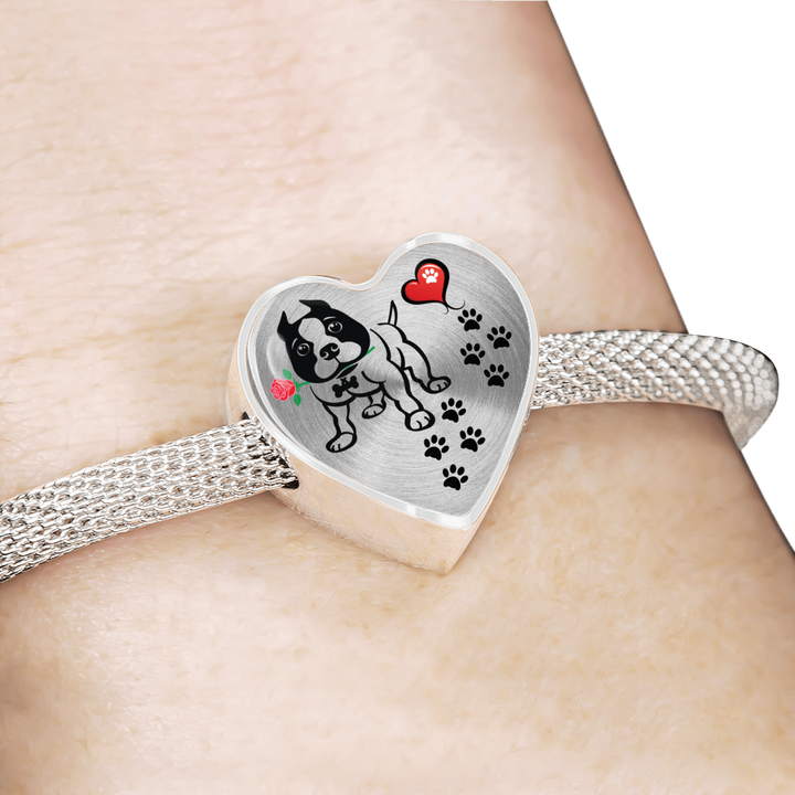 Awesome Love Pitbull with Paw Prints, Heart and Rose Charm Bracelet