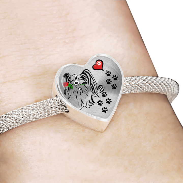Awesome Love Papillion with Paw Prints, Heart and Rose Charm Bracelet