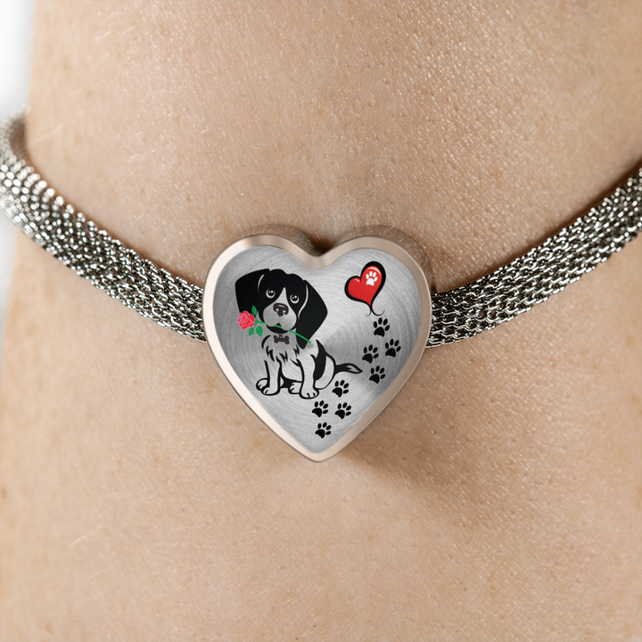 Awesome Love Beagle with Paw Prints, Heart and Rose Charm Bracelet