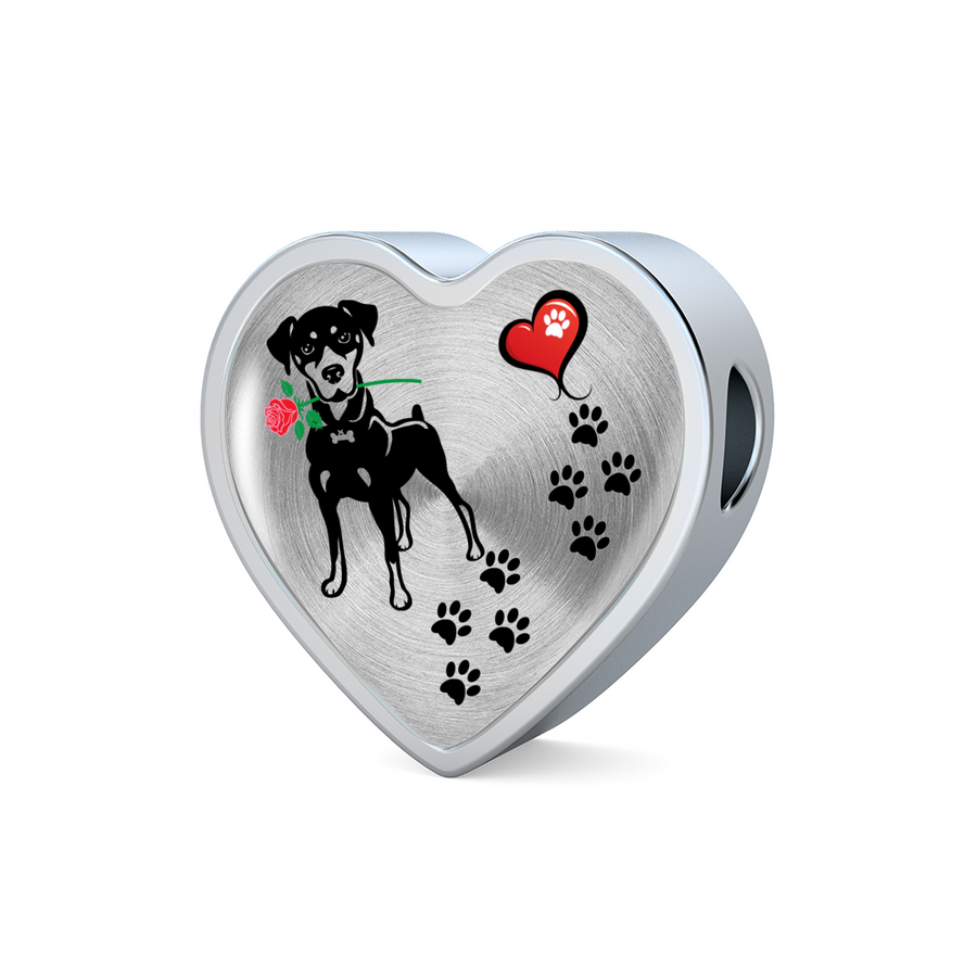 Awesome Love Doberman with Paw Prints, Heart and Rose Charm Bracelet