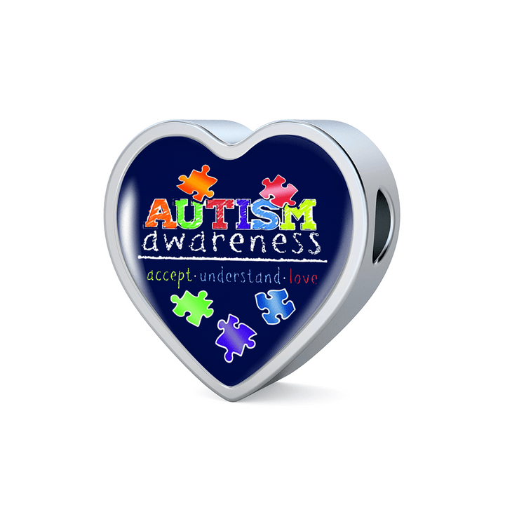 Accept Understand Love Luxury Heart Charm Bracelet - Autism Awareness