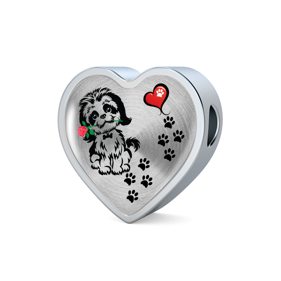 Awesome Love Shih Tzu with Paw Prints, Heart and Rose Charm Bracelet