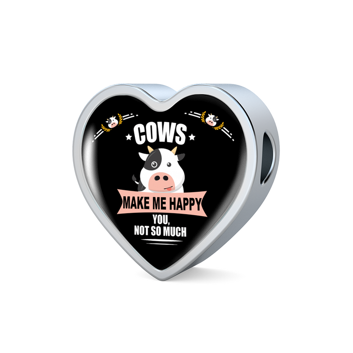 Cows Make Me Happy Luxury Charm  Heart Bracelet