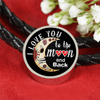 I Love You To The Moon and Back Sugar Skulls - Circle Woven Double-Braided Real-Leather Charm Bracelet