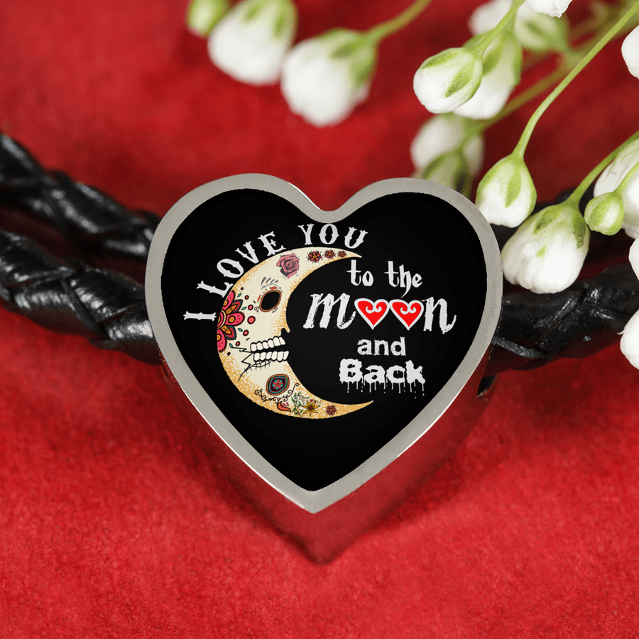 I Love You to the Moon and Back Real-Leather Charm Bracelet - Heart - Sugar Skulls