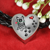 Awesome Love German Shepherd with Paw Prints, Heart and Rose Real Leather Charm Bracelet