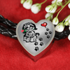 Awesome Love Shih Tzu with Paw Prints, Heart and Rose Real Leather Charm Bracelet