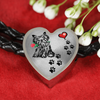 Awesome Love Yorkshire Terrier with Paw Prints, Heart and Rose Real Leather Charm Bracelet