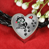 Awesome Love Husky with Paw Prints, Heart and Rose Real Leather Charm Bracelet