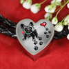 Awesome Love French Bulldog with Paw Prints, Heart and Rose Real Leather Charm Bracelet