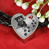 Awesome Love Rottweiler with Paw Prints, Heart and Rose Real Leather Charm Bracelet